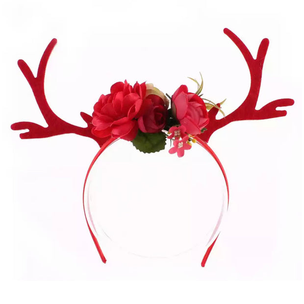 Lottie Flower Headband- Red