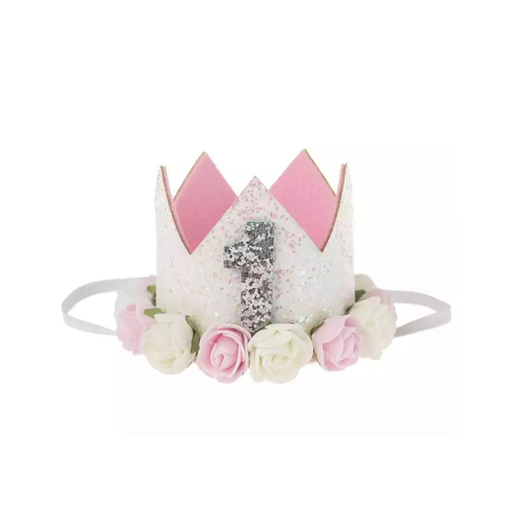 Ultimate 1st Birthday Crown - White & Pink
