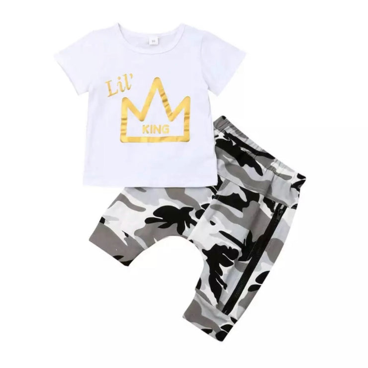 Lil King Set- White Tee