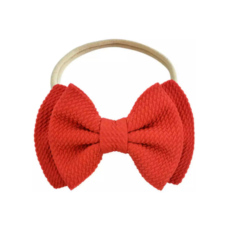 Poppy Bow Headband- Red