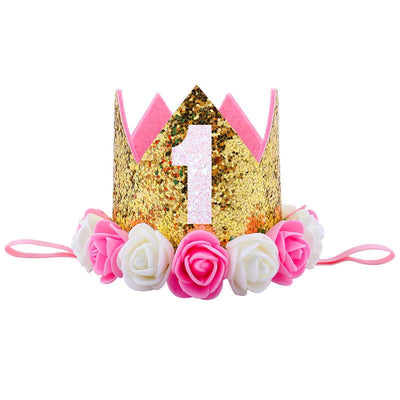 Ultimate 1st Birthday Crown - Gold & Pink