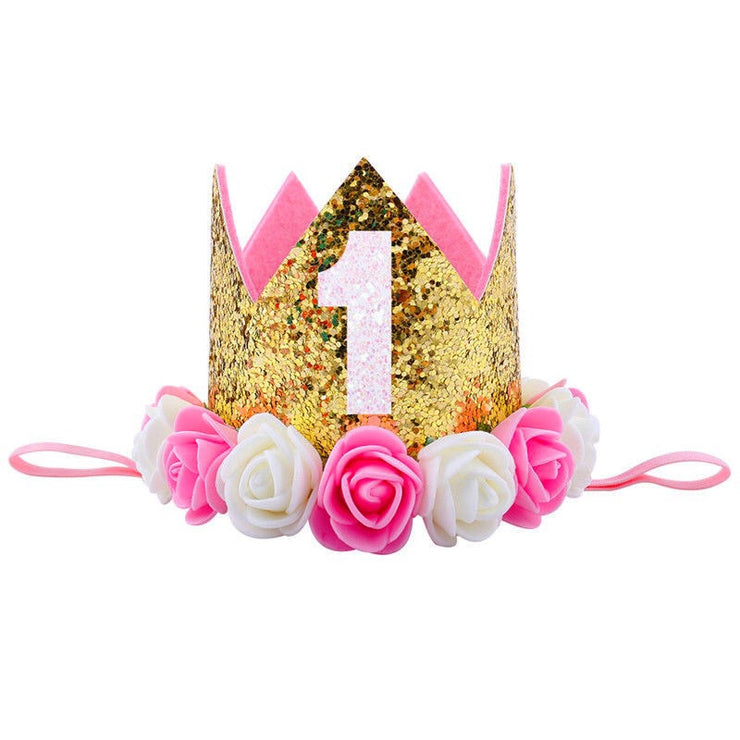 Ultimate 1st Birthday Crown - Gold & Pink - SEO Optimizer Test