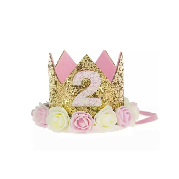Ultimate 2nd Birthday Crown - Gold & Pink