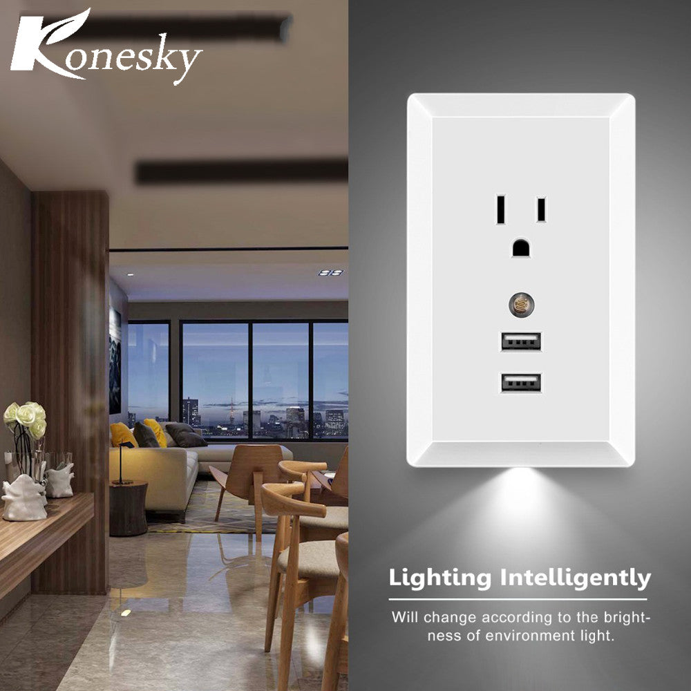 Konesky us ac socket wall outlet with led night light and 2 usb konesky us ac socket wall outlet with led night light and 2 usb ports built in light sensor support 24a usb smart fast charging mozeypictures Image collections