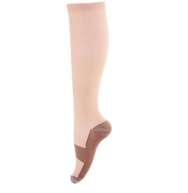Compression Socks with Copper Fibers in beige color