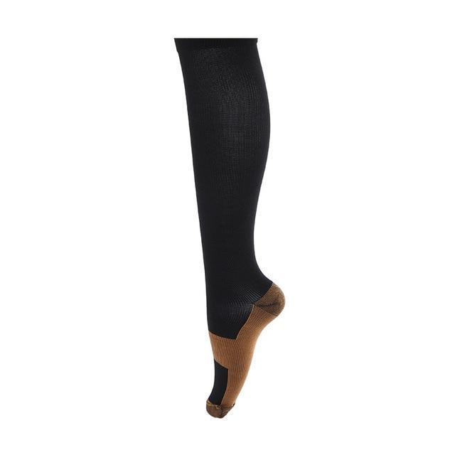Compression Socks with Copper Fibers in black color