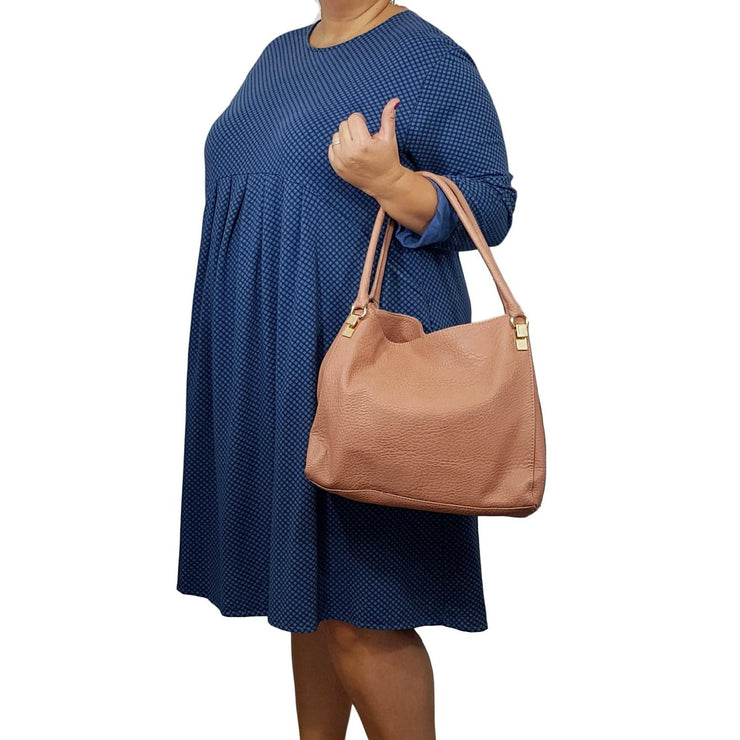 Dress Baggy Tunic Heavy Blue Lagenlook Plus Size [L362_BLUE] - size 16 18 20 22 24 26 28 30 32 34 36 38 40 42 Wolfairy