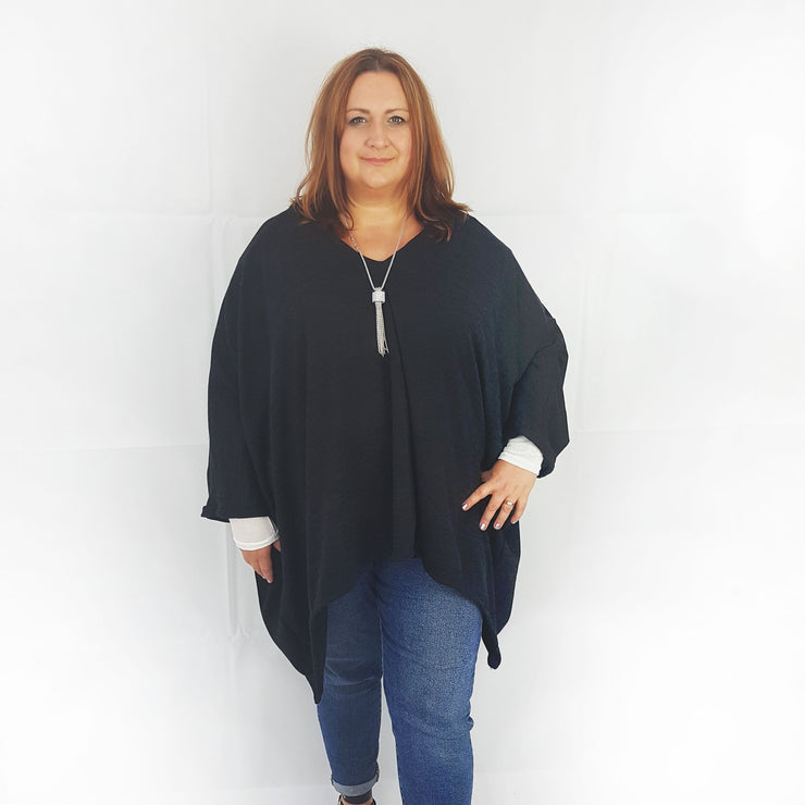 Top Tunic Poncho Vneck Scarf Belt  Black Lagenlook Plus Size [L1001_BLACK] - size 16 18 20 22 24 26 28 30 32 34 36 38 40 42 Wolfairy