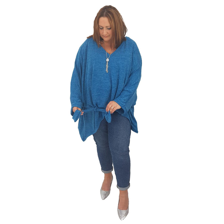 Top Tunic Poncho Vneck Scarf Belt  Blue Lagenlook Plus Size [L1001_BLUE] - size 16 18 20 22 24 26 28 30 32 34 36 38 40 42 Wolfairy