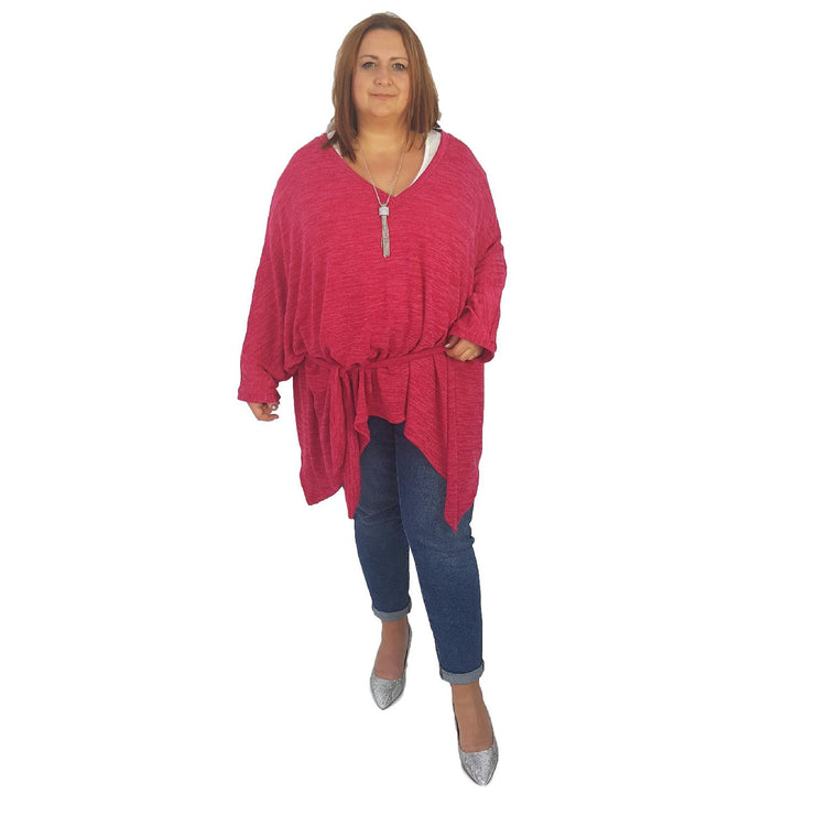 Top Tunic Poncho Vneck Scarf Belt  Pink Lagenlook Plus Size [L1001_PINK] - size 16 18 20 22 24 26 28 30 32 34 36 38 40 42 Wolfairy