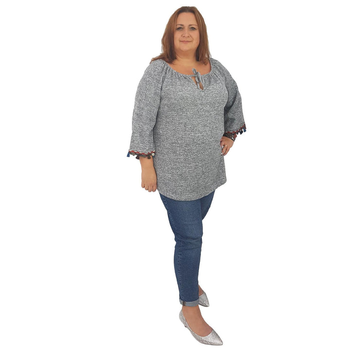Dress Top Sweater Grey Plus Size [L91_GREY] top Wolfairy