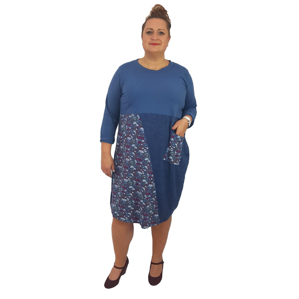 Dress Boho Hippie Floral Embellished Blue Plus Size [L394_BLUE] - size 16 18 20 22 24 26 28 30 32 34 36 38 40 42 Wolfairy