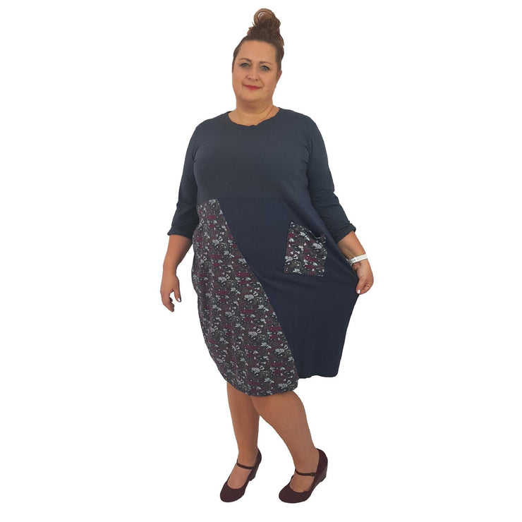 Dress Boho Hippie Floral Embellished Graphite Plus Size [L394_GRAPHITE] dress Wolfairy