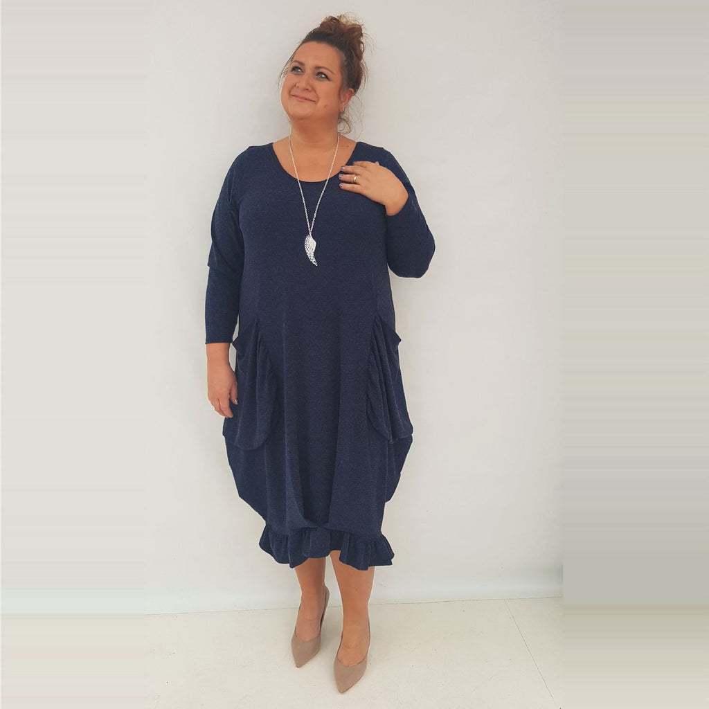 Maxi Dress Pockets Frill Long Sleeve Angora Navy Lagenlook Plus Size [L1003_NAVY] - size 16 18 20 22 24 26 28 30 32 34 36 38 40 42 Wolfairy