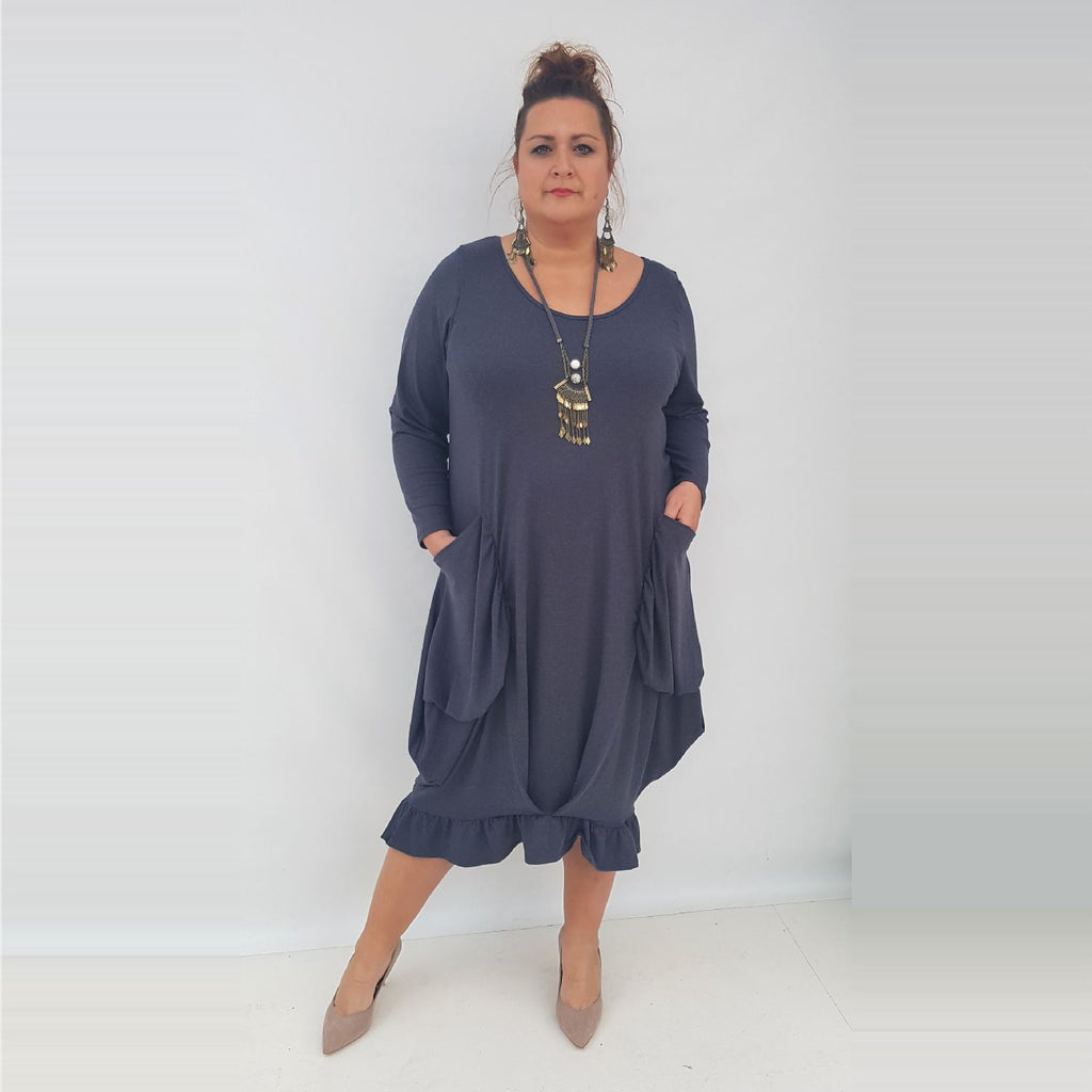 Maxi Dress Pockets Frill Long Sleeve Angora Graphite Lagenlook Plus Size [L1003_GRAPHITE] - size 16 18 20 22 24 26 28 30 32 34 36 38 40 42 Wolfairy