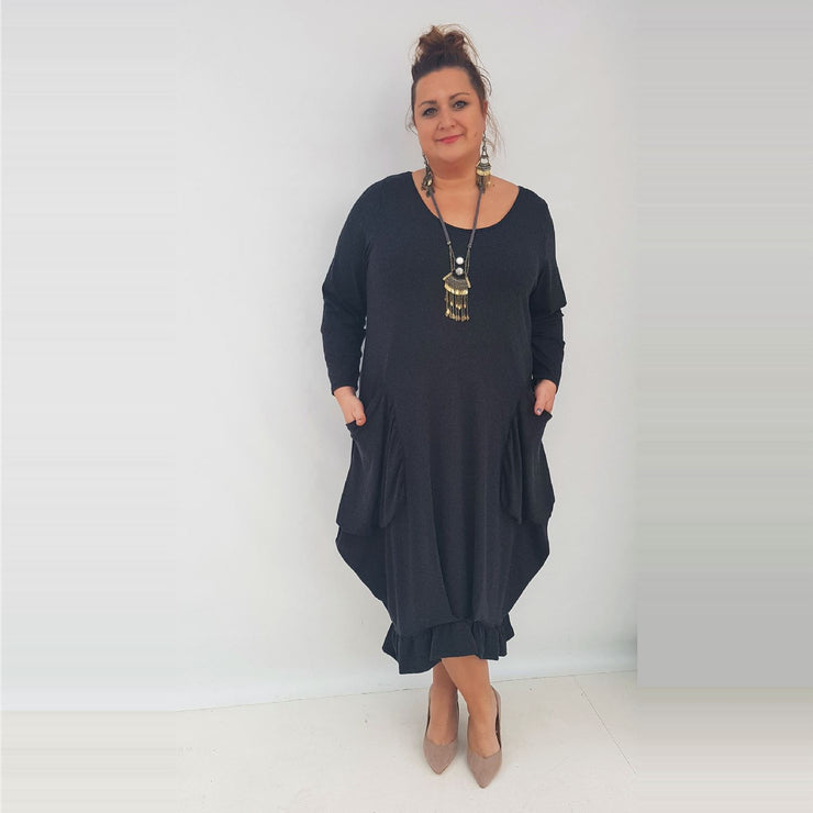 Maxi Dress Pockets Frill Long Sleeve Angora Black Lagenlook Plus Size [L1003_BLACK] dress Wolfairy