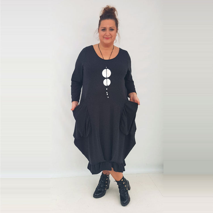 Maxi Dress Pockets Frill Long Sleeve Angora Black Lagenlook Plus Size [L1003_BLACK] - size 16 18 20 22 24 26 28 30 32 34 36 38 40 42 Wolfairy