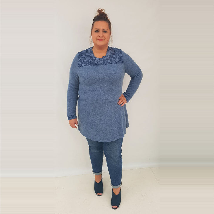 Tunic Top Embellished Blue Plus Size [L414_BLUE] top Wolfairy