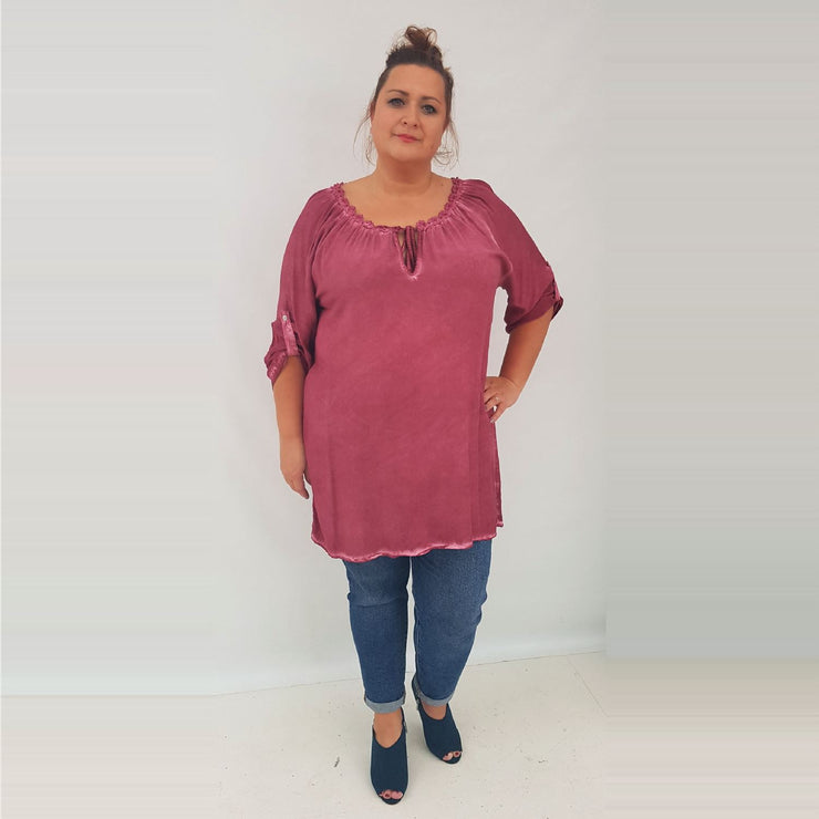 Tunic Top Embellished Wine Plus Size [L337_WINE] top Wolfairy