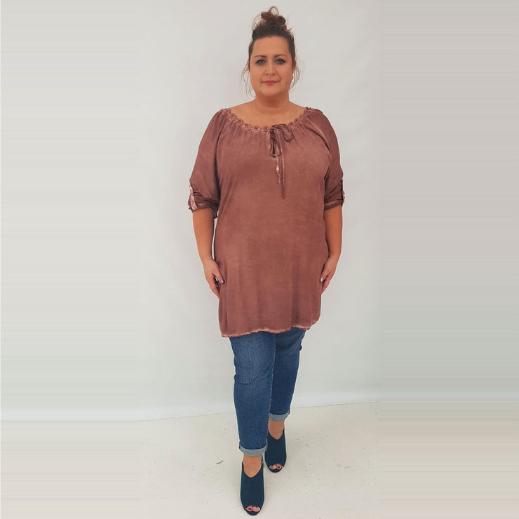Tunic Top Embellished Rust Plus Size [L337_RUST] top Wolfairy