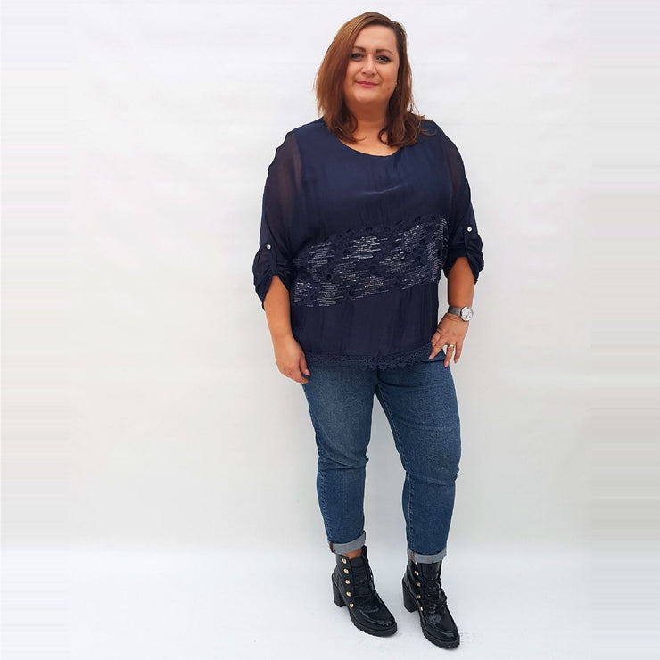 Top Silk Navy Plus Size [L321_NAVY] top Wolfairy