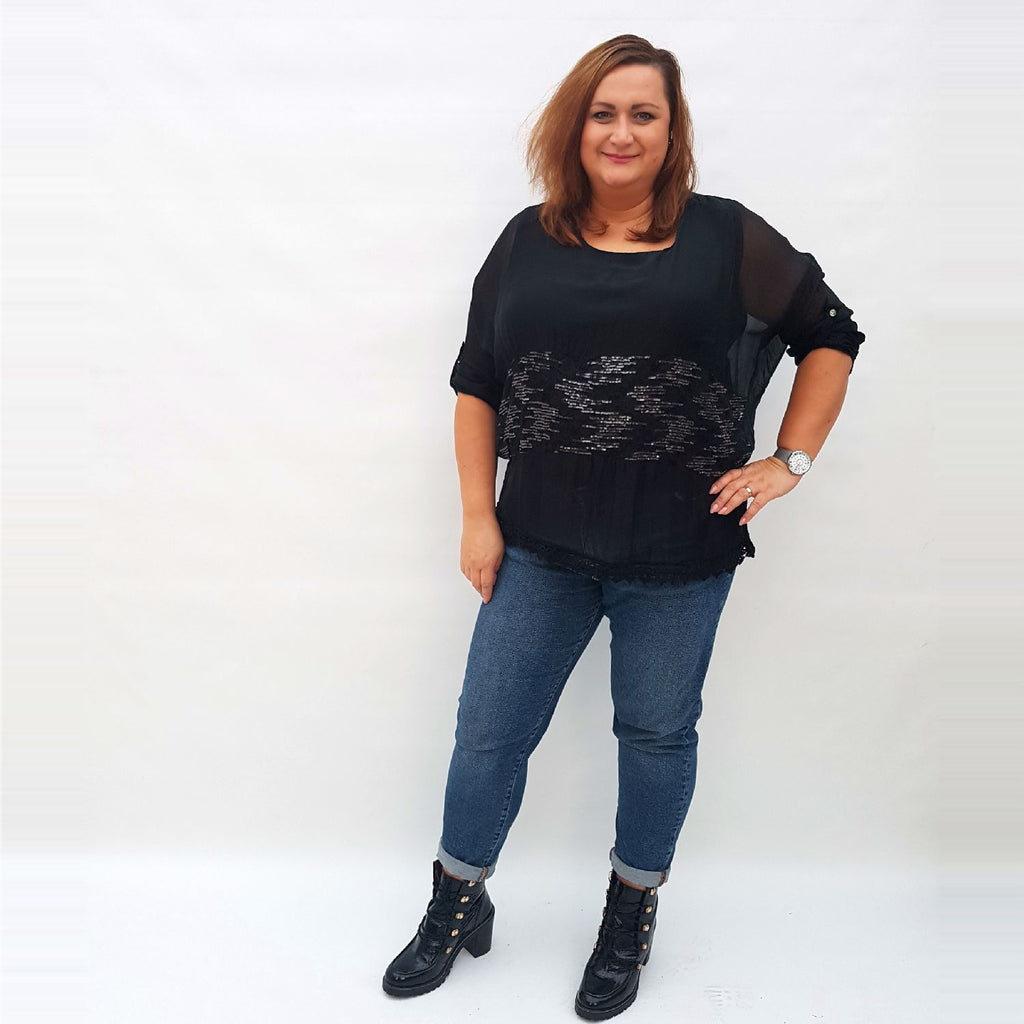 Top Silk Black Plus Size [L321_BLACK] - size 16 18 20 22 24 26 28 30 32 34 36 38 40 42 Wolfairy