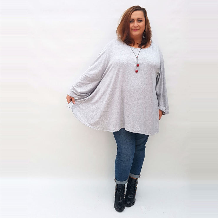 Top Tunic Long Sleeve Necklace Angora Grey Lagenlook Plus Size [L1002_GREY] - size 16 18 20 22 24 26 28 30 32 34 36 38 40 42 Wolfairy