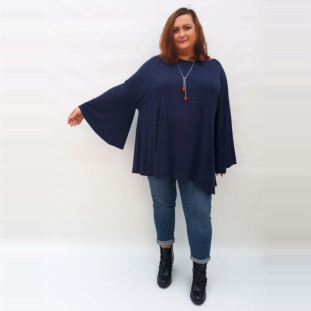 Top Tunic Long Sleeve Necklace Angora Navy Lagenlook Plus Size [L1002_NAVY] - size 16 18 20 22 24 26 28 30 32 34 36 38 40 42 Wolfairy