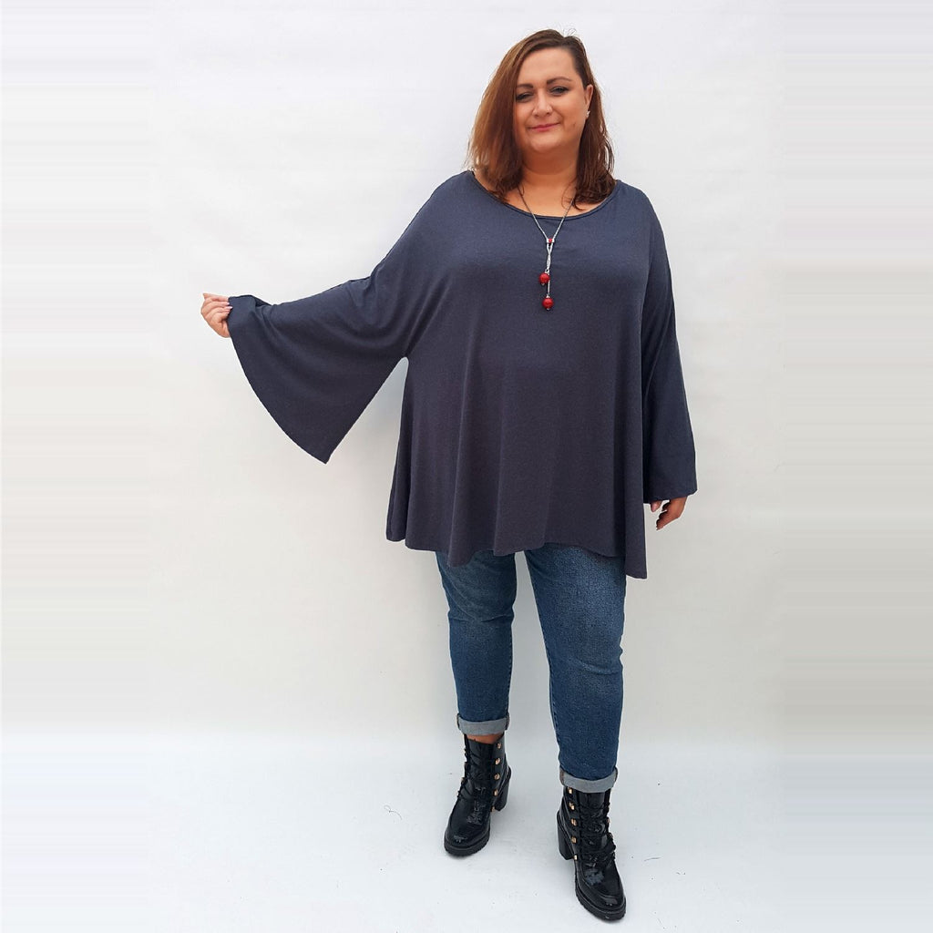 Top Tunic Long Sleeve Necklace Angora Graphite Lagenlook Plus Size [L1002_GRAPHITE] - size 16 18 20 22 24 26 28 30 32 34 36 38 40 42 Wolfairy