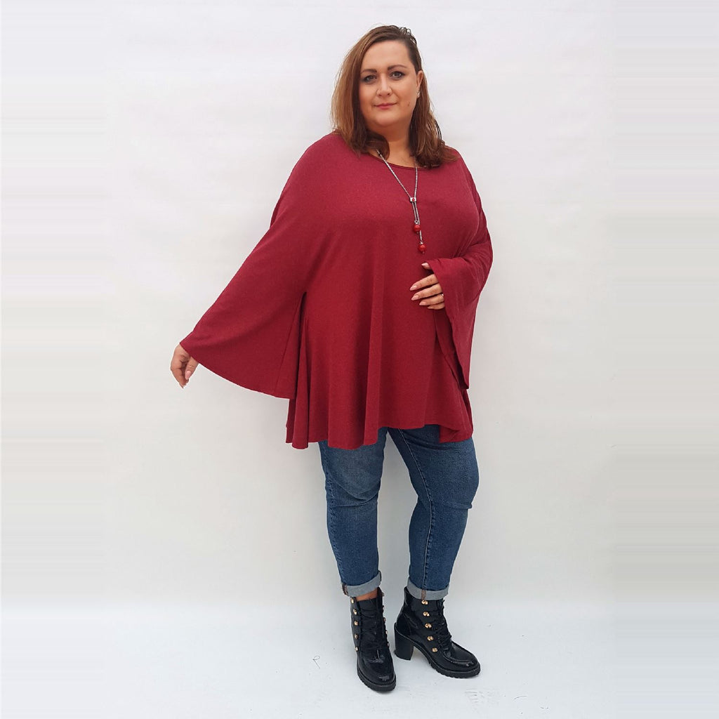 Top Tunic Long Sleeve Necklace Angora Wine Lagenlook Plus Size [L1002_WINE] - size 16 18 20 22 24 26 28 30 32 34 36 38 40 42 Wolfairy