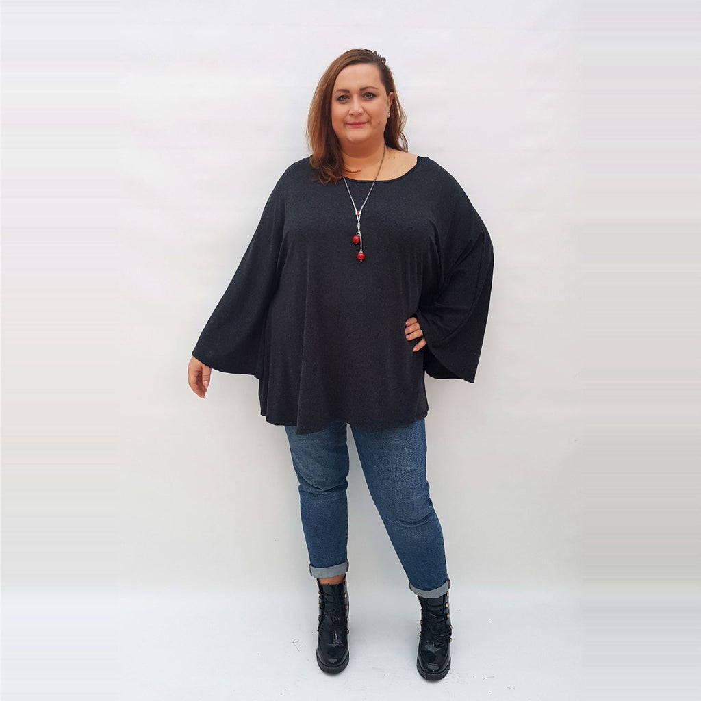 Top Tunic Long Sleeve Necklace Angora Black Lagenlook Plus Size [L1002_BLACK] - size 16 18 20 22 24 26 28 30 32 34 36 38 40 42 Wolfairy