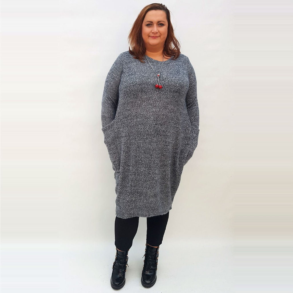 Knitted Dress Boho Hippie Baggy Blue Plus Size [L145_BLUE] - size 16 18 20 22 24 26 28 30 32 34 36 38 40 42 Wolfairy