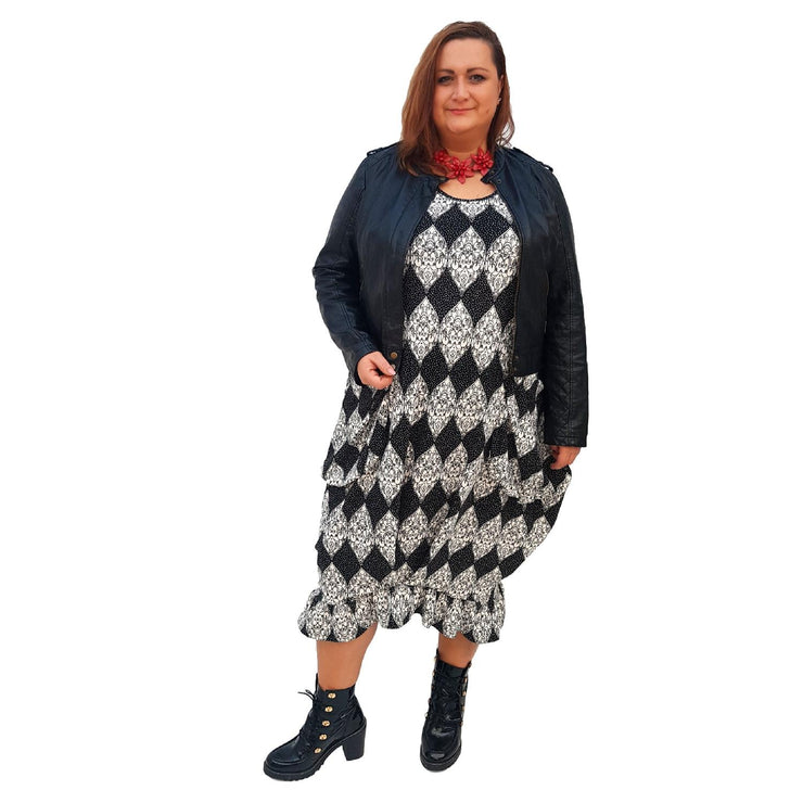 Long Dress Pockets Frill Long Sleeve Pockets Lagenlook Plus Size [L1018_BLACK] - size 16 18 20 22 24 26 28 30 32 34 36 38 40 42 Wolfairy