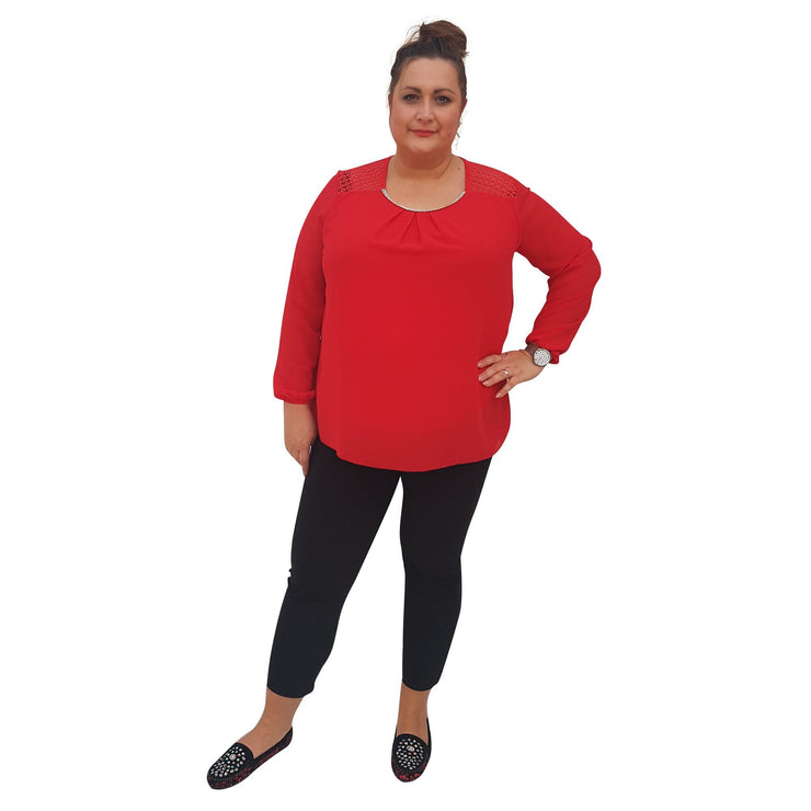 Top Embellished Red Plus Size [L380_RED] - size 16 18 20 22 24 26 28 30 32 34 36 38 40 42 Wolfairy