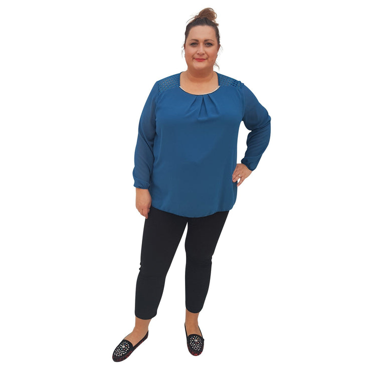 Top Embellished Turquoise Plus Size [L380_TURQUOISE] - size 16 18 20 22 24 26 28 30 32 34 36 38 40 42 Wolfairy
