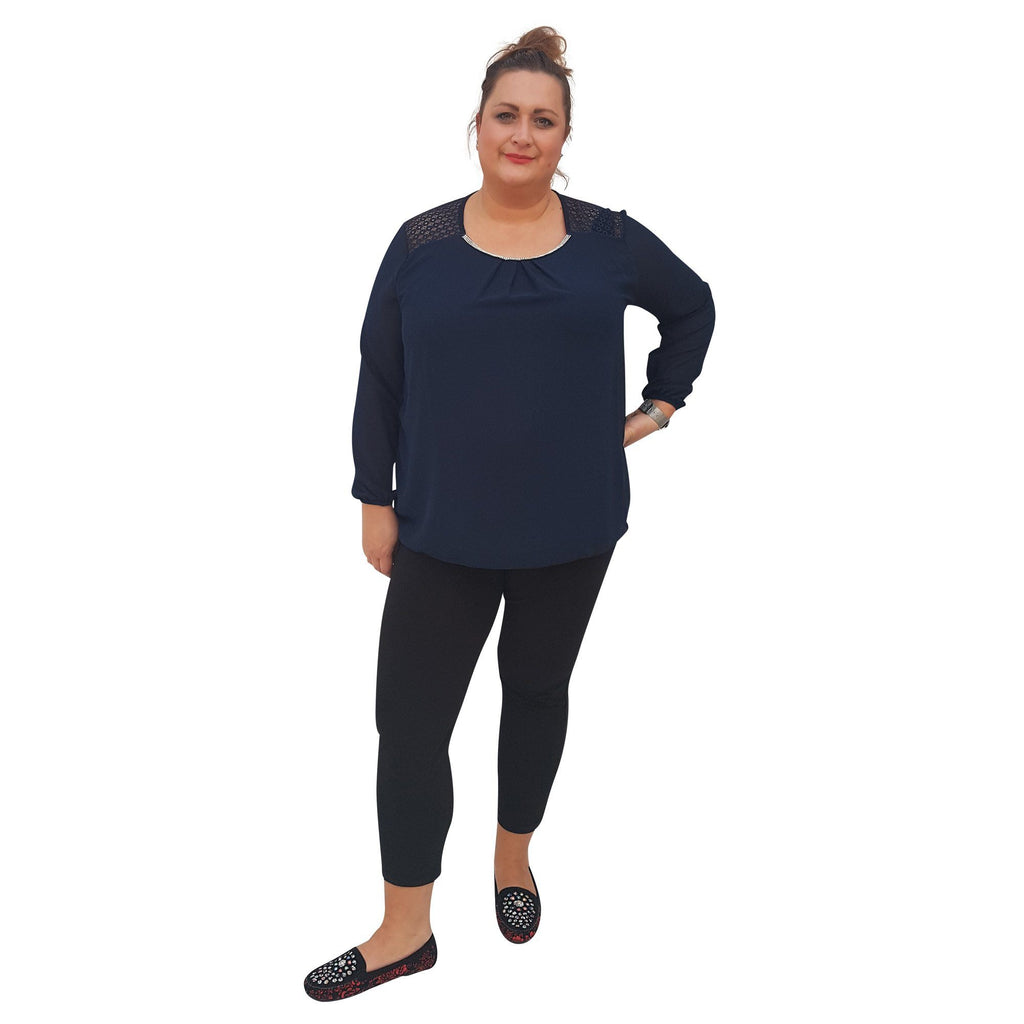 Top Embellished Navy Plus Size [L380_NAVY] - size 16 18 20 22 24 26 28 30 32 34 36 38 40 42 Wolfairy