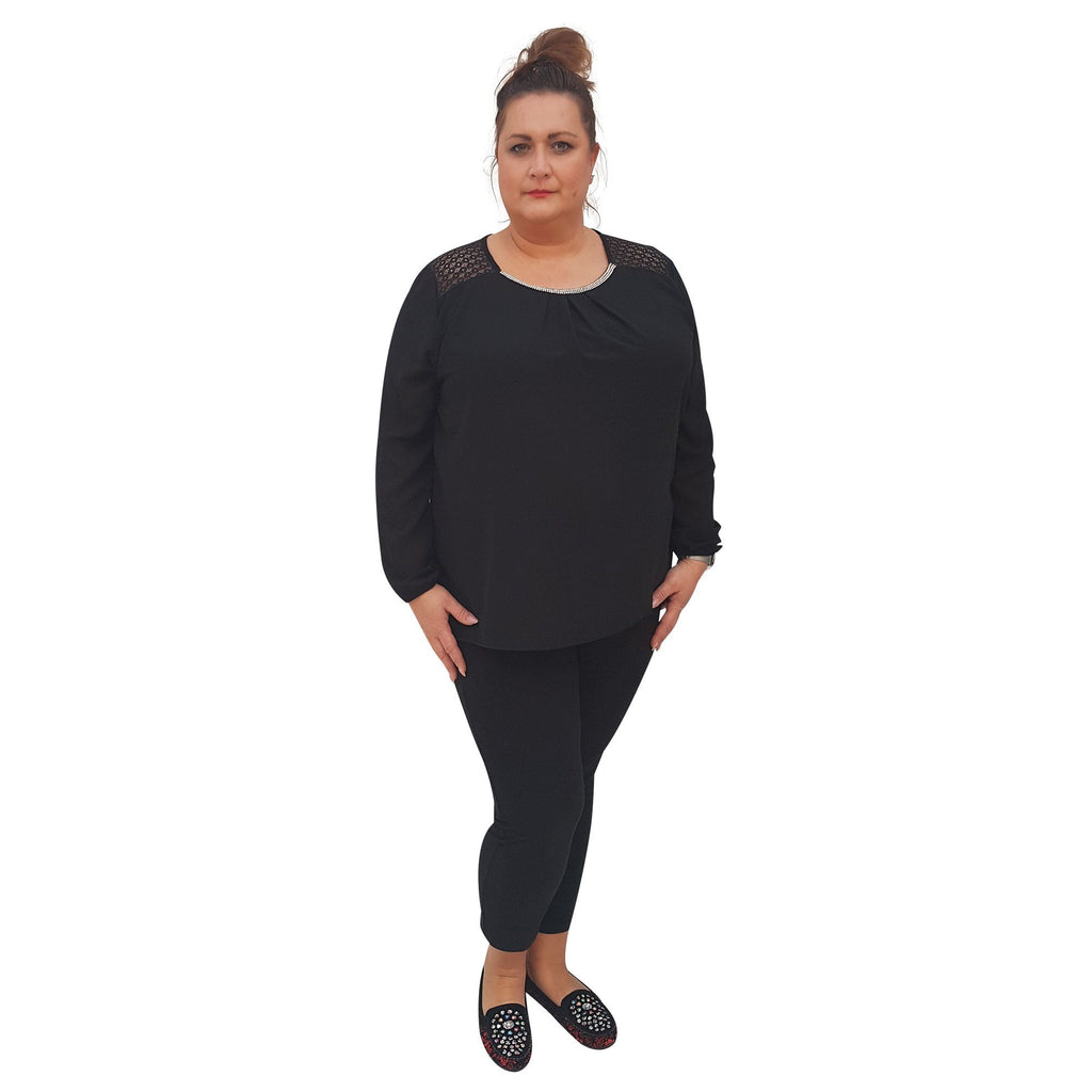 Top Embellished Black Plus Size [L380_BLACK] - size 16 18 20 22 24 26 28 30 32 34 36 38 40 42 Wolfairy
