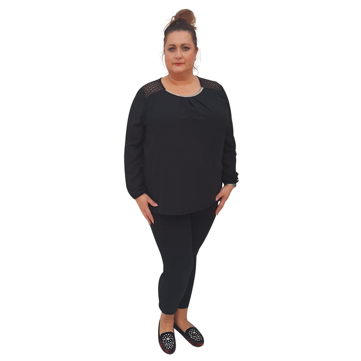 Top Embellished Black Plus Size [L380_BLACK] top Wolfairy