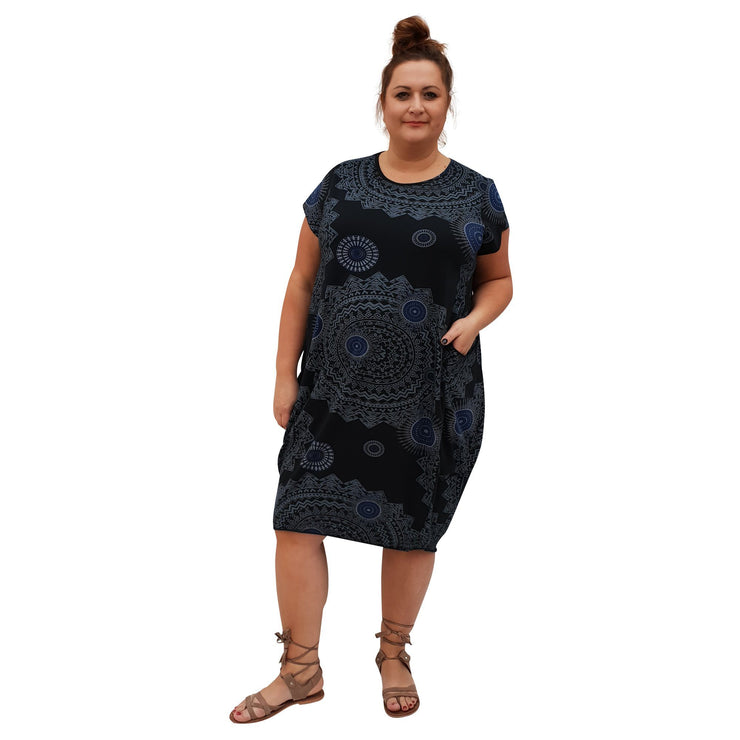 Dress Boho Aztec Jersey (black ) Plus Size [L439_BLACK] dress Wolfairy
