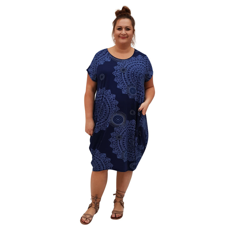 Dress Boho Aztec Jersey (navy ) Plus Size [L439_NAVY] dress Wolfairy
