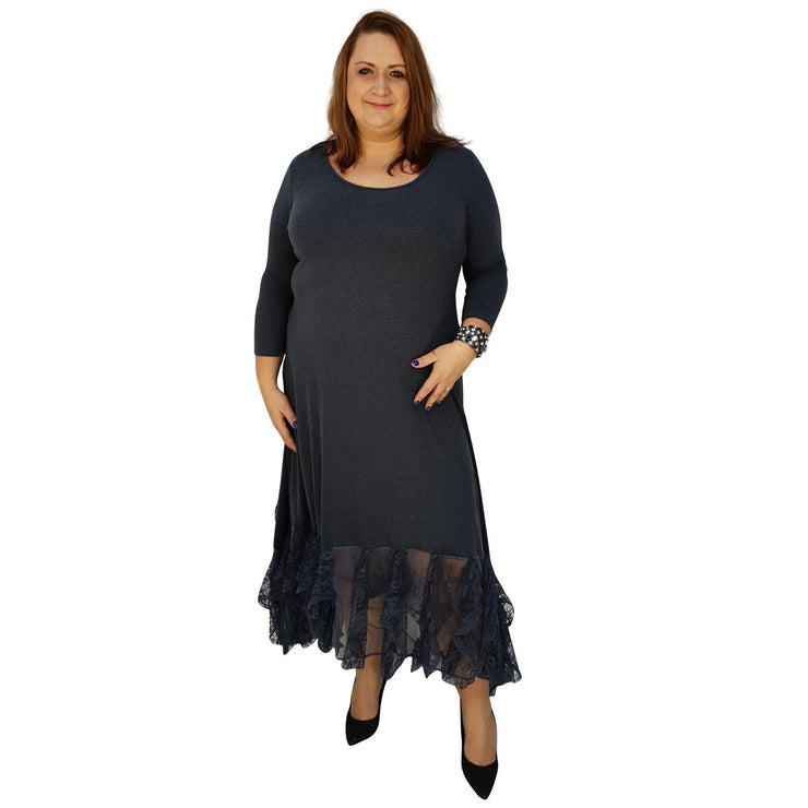 Maxi Dress Floral Layered Lace Frill 3/4 Sleeve Lagenlook Plus Size [L1041_GRAPHITE] - size 16 18 20 22 24 26 28 30 32 34 36 38 40 42 Wolfairy