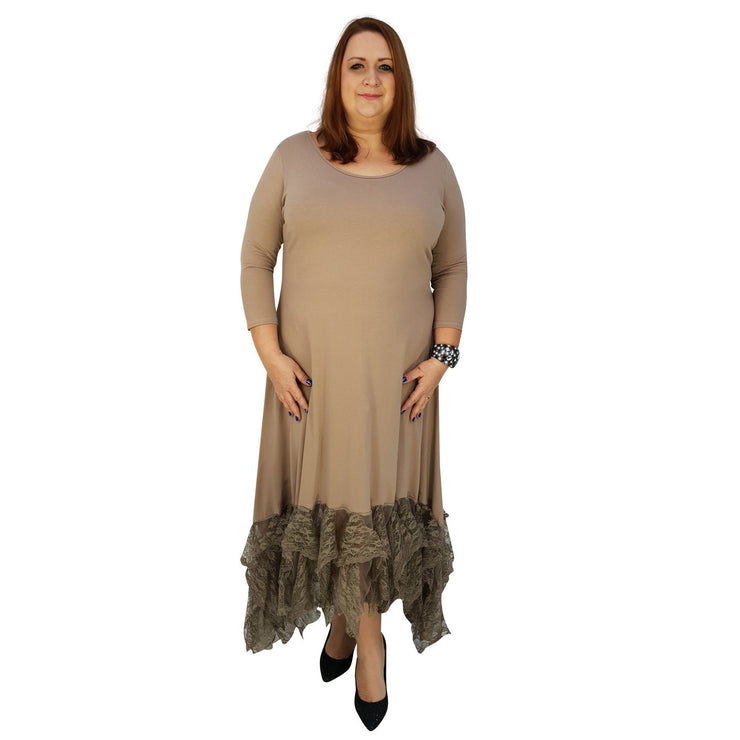 Maxi Dress Floral Layered Lace Frill 3/4 Sleeve Lagenlook Plus Size [L1041_BEIGE] dress Wolfairy