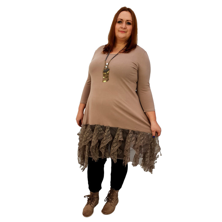 Longer Tunic Floral Lace Frill 3/4 Sleeve Lagenlook Plus Size [L1042_BEIGE] top Wolfairy