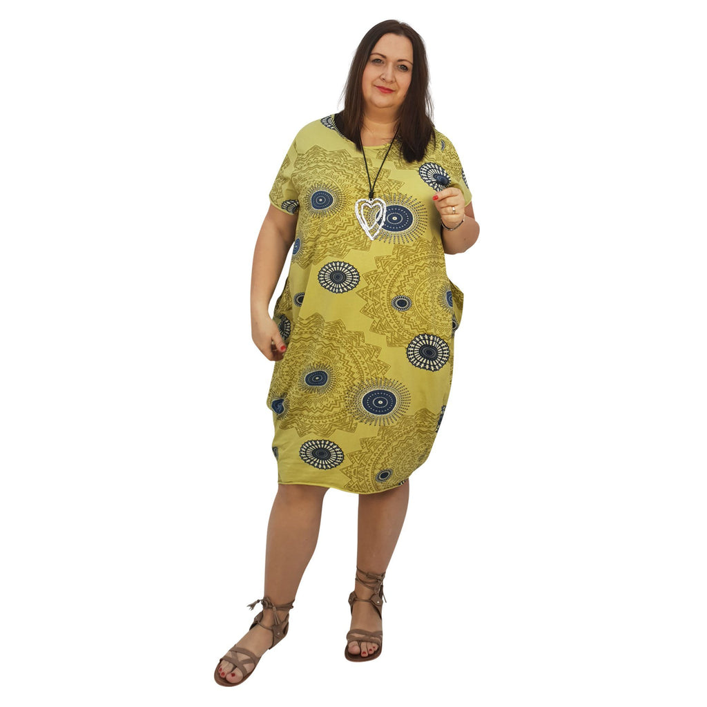 Dress Boho  Aztec Jersey  (lime ) Plus Size [L439_LIME] - size 16 18 20 22 24 26 28 30 32 34 36 38 40 42 Wolfairy