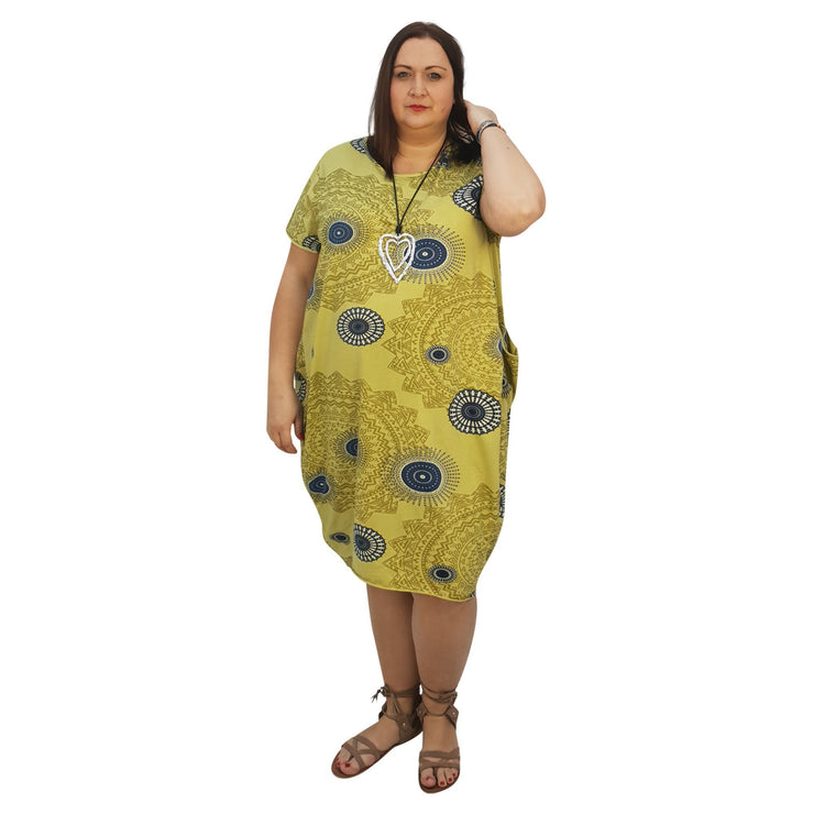 Dress Boho Aztec Jersey (lime ) Plus Size [L439_LIME] dress Wolfairy