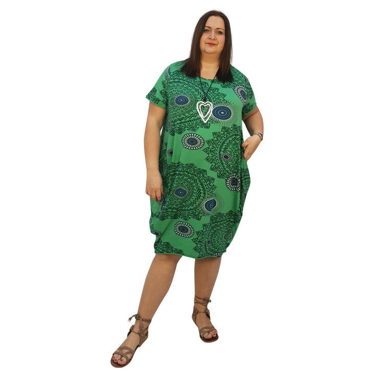 Dress Boho Aztec Jersey (green ) Plus Size [L439_GREEN] dress Wolfairy