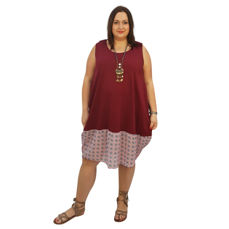 Midi Dress For Beach Holiday Frill Floral Aztec Tribal Plus Size [L1047_WINECHIFFON] dress Wolfairy