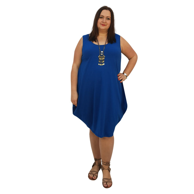 Midi Dress For Beach Holiday Frill Floral Aztec Tribal Plus Size [L1047_BLUE] dress Wolfairy