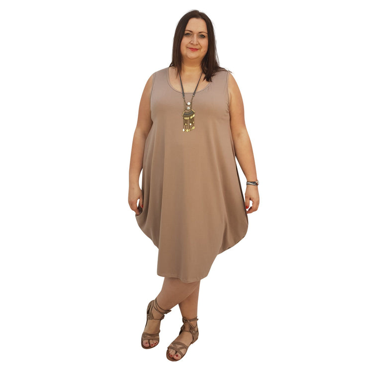 Midi Dress For Beach  Holiday Frill Floral Aztec Tribal Plus Size [L1047_BEIGE] - size 16 18 20 22 24 26 28 30 32 34 36 38 40 42 Wolfairy
