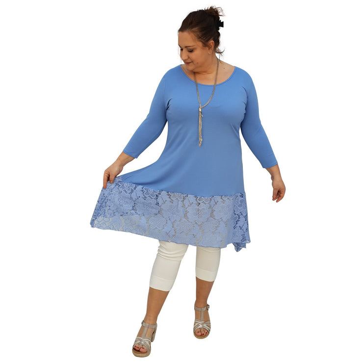 Tunic 3/4 Sleeve Swingy Sidetail Hem Lace Frill Stretchy Jersey Lagenlook Plus Size [L1020_BLUE] - size 16 18 20 22 24 26 28 30 32 34 36 38 40 42 Wolfairy